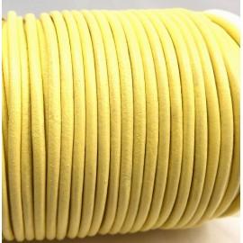 Cordon cuir rond 3mm couleur jaune clair