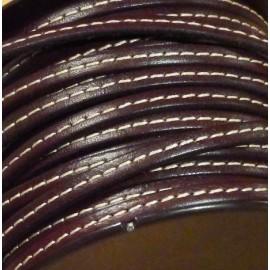 Cuir plat 5mm couture marron en gros