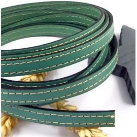 Laniere cuir plat 10mm vert ocean coutures blanches en gros
