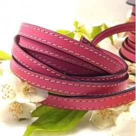 Cuir plat 10mm rose coutures blanches par metre