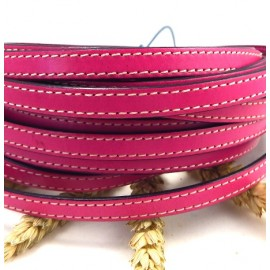 cuir plat 10mm fuchsia coutures