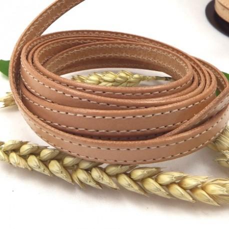 cuir plat 10mm couture naturel