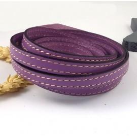 Cordon cuir plat 10mm mauve coutures blanches par metre