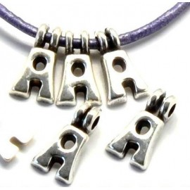 Lettre A pendentif alphabet plaque argent
