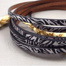 cuir plat 5mm zebre noir et argent haute qualite