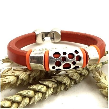 Kit tutoriel bracelet cuir regaliz orange avec perles et fermoir plaque argent