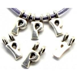 Lettre P pendentif alphabet plaque argent