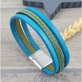 cuir plat 6mm vert deux coutures turquoise