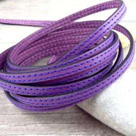 Exclu cuir plat 6mm vert deux coutures violet