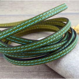 Cordon cuir plat 6mm vert deux coutures turquoise en gros