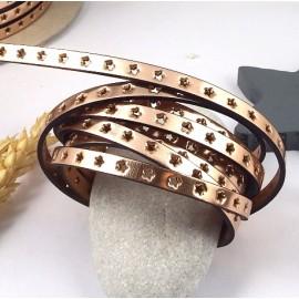 cuir plat 6mm or rose metal avec etoiles perforees