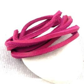 Cuir carre nautic 3MM fuchsia