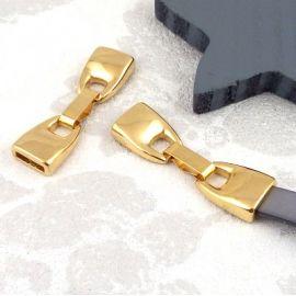 Fermoir clip zamak plaque or pour cuir 10mm