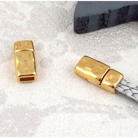 10 Fermoirs magnetiques marteles plaque or pour cuir 5mm