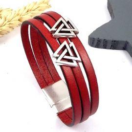 Bracelet cuir rouge geometrique et son tutoriel