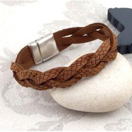 Kit bracelet cuir camel et argent homme avec tutoriel