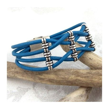 Kit bracelet cuir tresse turquoise et argent avec tutoriel