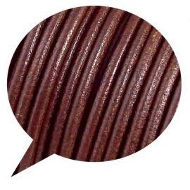 Cordon cuir rond marron par 20cm