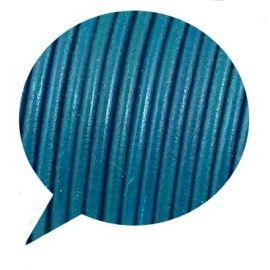 Cordon cuir rond bleu petrole par 20cm