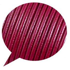 Cordon cuir rond 3mm couleur framboise