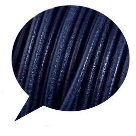 Cordon cuir rond 3mm couleur bleu marine