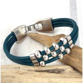 kit tutoriel bracelet cuir bleu petrole et argent boho chic