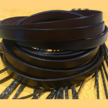 Cuir plat 10mm marron fonce