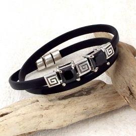 Bracelet cuir noir en double avec strass et perles argent