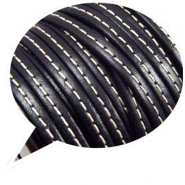 Cuir plat 5mm couture noir par 20cm