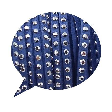 cordon suedine bleu jean 3mm avec strass par 50cm