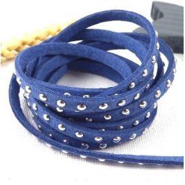 Cordon suedine bleu jean 5mm avec strass par 50cm