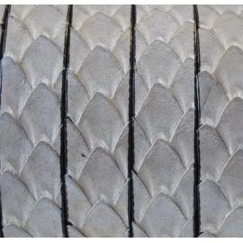 cuir plat 10mm texture reptile brillant gris clair