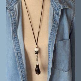 Kit collier suedine noire ethnique avec perles ceramique et argent