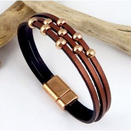 kit bracelet cuir cuivre et or rose avec tutoriel
