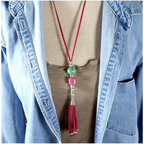 Kit collier suedine ethnique fuchsia avec perles ceramique et argent