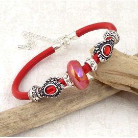 Kit bracelet cuir rouge ethnique et boheme