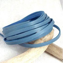 Cuir plat fin 4mm bleu jean par 1 metre