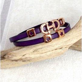 Kit tutoriel bracelet cuir deux gris et or rose