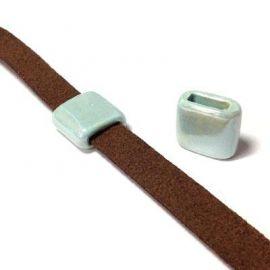 passe cuir ceramique artisanale vert clair pour cuir plat 10mm