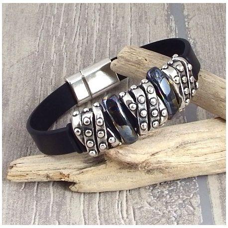 Kit bracelet cuir noir tres massif argent et ceramique artisanale