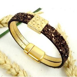 Kit tutoriel bracelet fantasia marron et zamak or