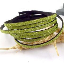 Cordon plat fantasia vert anis 5mm