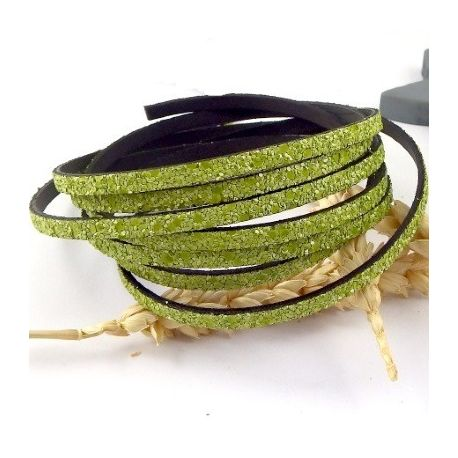 cordon plat synthetique fantasia vert anis 5mm