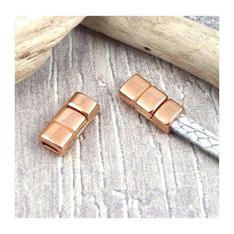 Fermoir magnetique 3 bandes flashe or rose pour cuir 5mm