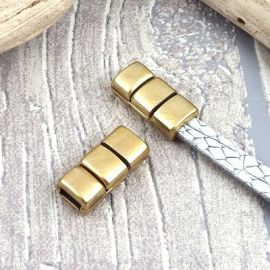Fermoir magnetique 3 bandes plaque bronze pour cuir 5mm
