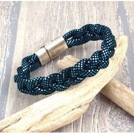 Kit tutoriel bracelet cuir tresse Pu turquoise brillant plaque argent