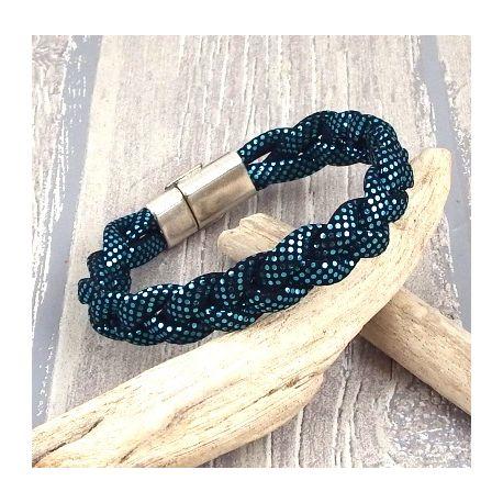 kit tutoriel bracelet cuir Pu bleu brillant perles et fermoir plaque argent