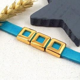 passe cuir carré évidé flashé or pour cuir 10mm