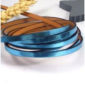 Cuir plat 5mm metallise bleu azur haute qualite