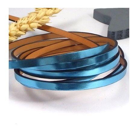cuir plat 6mm metallise bleu azur haute qualite